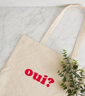 Off White Oui Non Slogan Canvas Bag