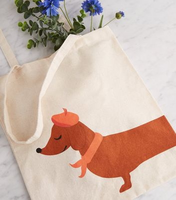 Cream Dachshund Print Canvas Bag
