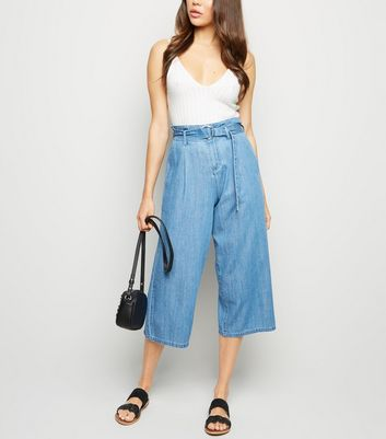 Blue D-Ring Buckle Denim Culottes