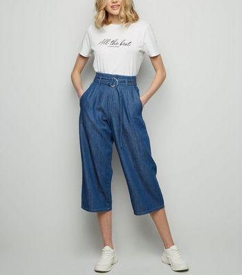 Blue Dark Wash D Ring Buckle Denim Culottes by New Look