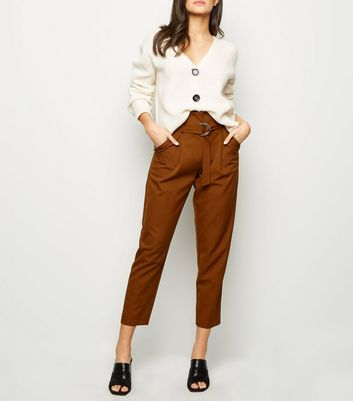 Rust D-Ring Belt High Waist Trousers