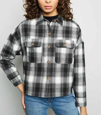 Black Check Borg Lined Trucker Jacket