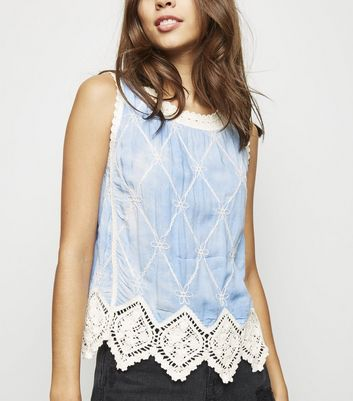 Blue Tie Dye Crochet Sleeveless Top