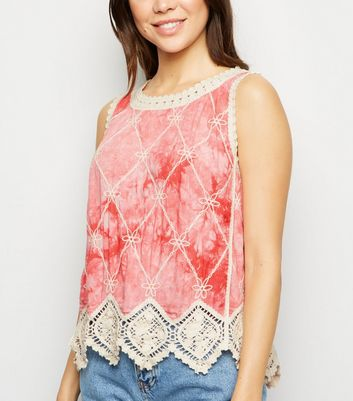Pink Tie Dye Crochet Sleeveless Top