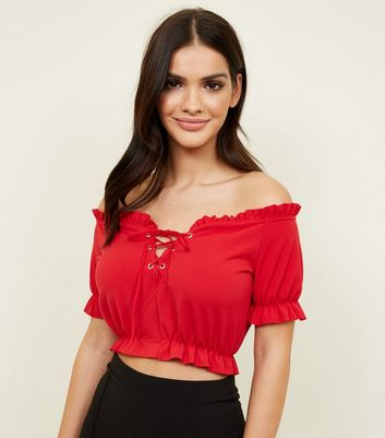 Red Lattice Frill Trim Crop Top