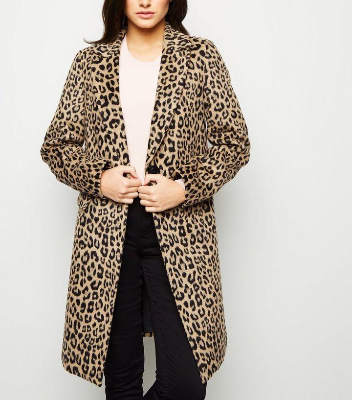 07864aa38db Brown Leopard Print Longline Coat