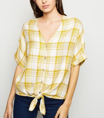Mustard Check Tie Front Shirt