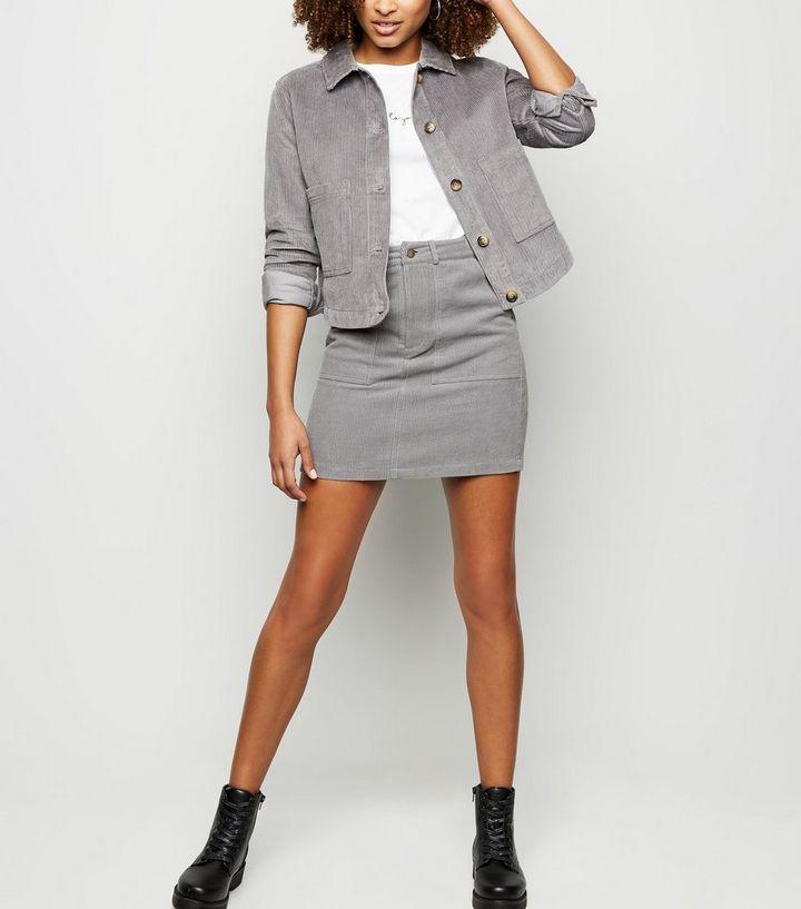 89577f00f2 Grey Corduroy Mini Skirt | New Look