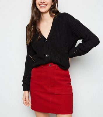 Red Corduroy Utility Mini Skirt