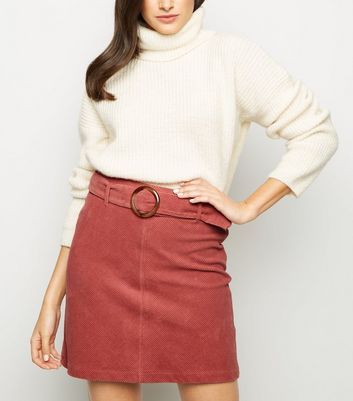 Mid Pink Ring Belt Corduroy Mini Skirt