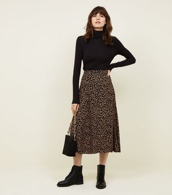 Black and Yellow Spot Print Midi Skirt
