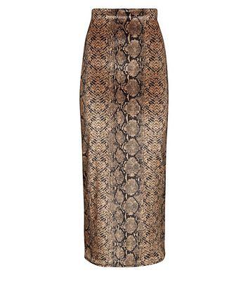 shop for Pink Vanilla Brown Snake Print Maxi Skirt New Look at Shopo