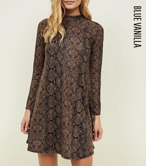 e95403bd29aa1 ... Blue Vanilla Tan Snake Print Swing Dress ...