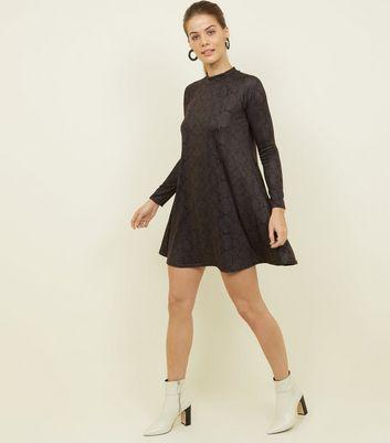 shop for Blue Vanilla Khaki Snake Print Swing Dress New Look at Shopo