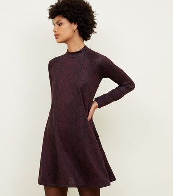 Blue Vanilla Dark Purple Snake Print Swing Dress