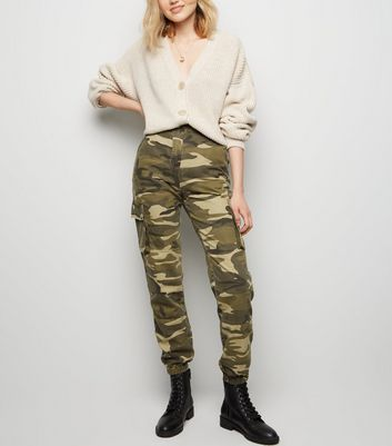 Tall Khaki Camo Cuffed Utility Trousers