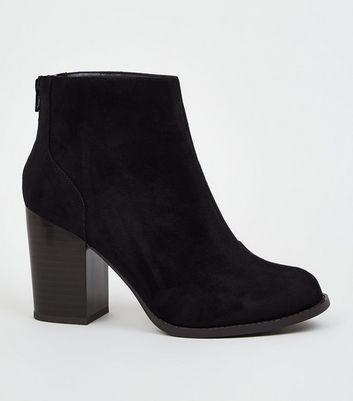 Wide Fit Black Suedette Block Heel Western Boots