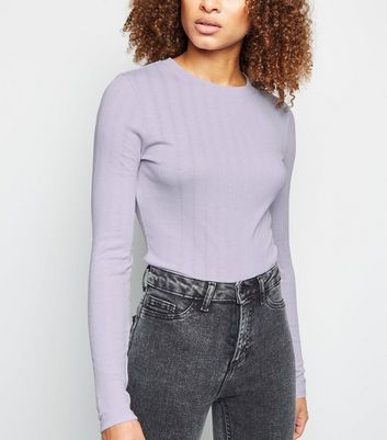 Tall Lilac Ribbed Long Sleeve Top