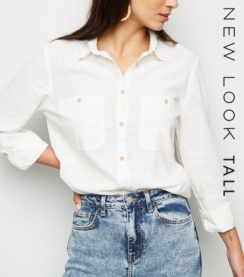 0b3a4c424e ... Tall White Linen Blend Long Sleeve Shirt ...