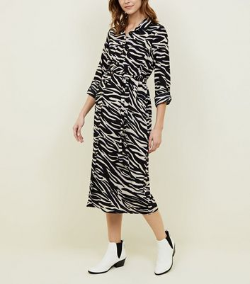 Maternity Black Zebra Print Midi Dress