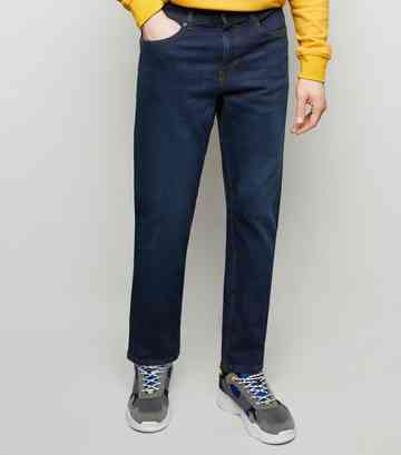 Navy Rinse Wash Straight Leg Jeans