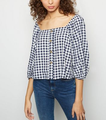 Blue Gingham Square Neck Button Front Top
