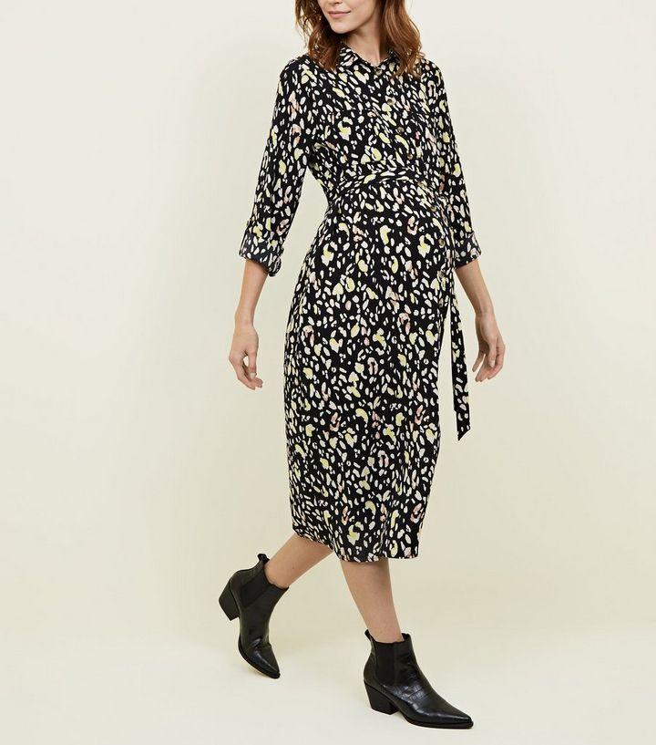 1da4e73564b Maternity Black Leopard Print Shirt Dress
