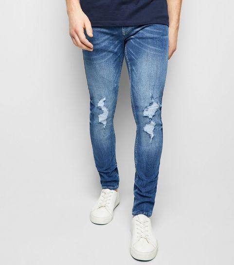 403e5b5d9e ... Blue Ripped Super Skinny Stretch Jeans ...