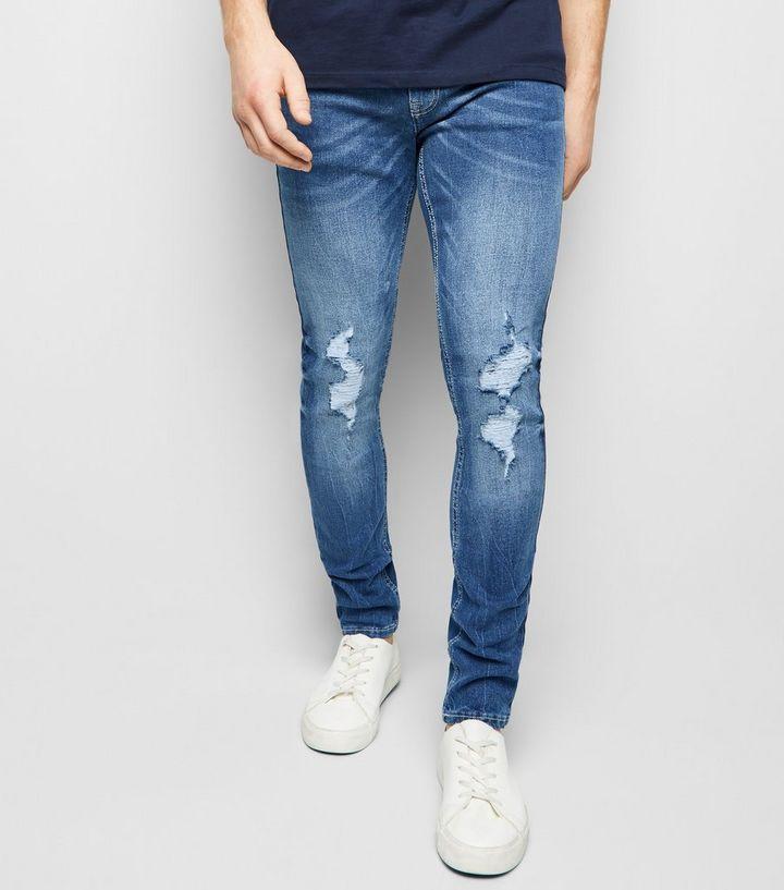 55195233b6f Blue Ripped Super Skinny Stretch Jeans | New Look