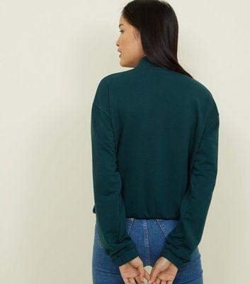 Dark Green Half Zip Pocket Front Sweatshirt | New Look