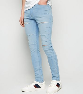 Blue Bleach Wash Ripped Skinny Stretch Jeans