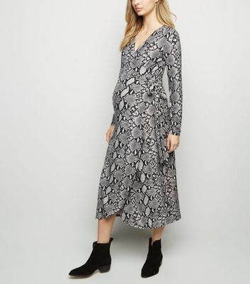 Maternity Grey Snake Print Soft Touch Midi Dress