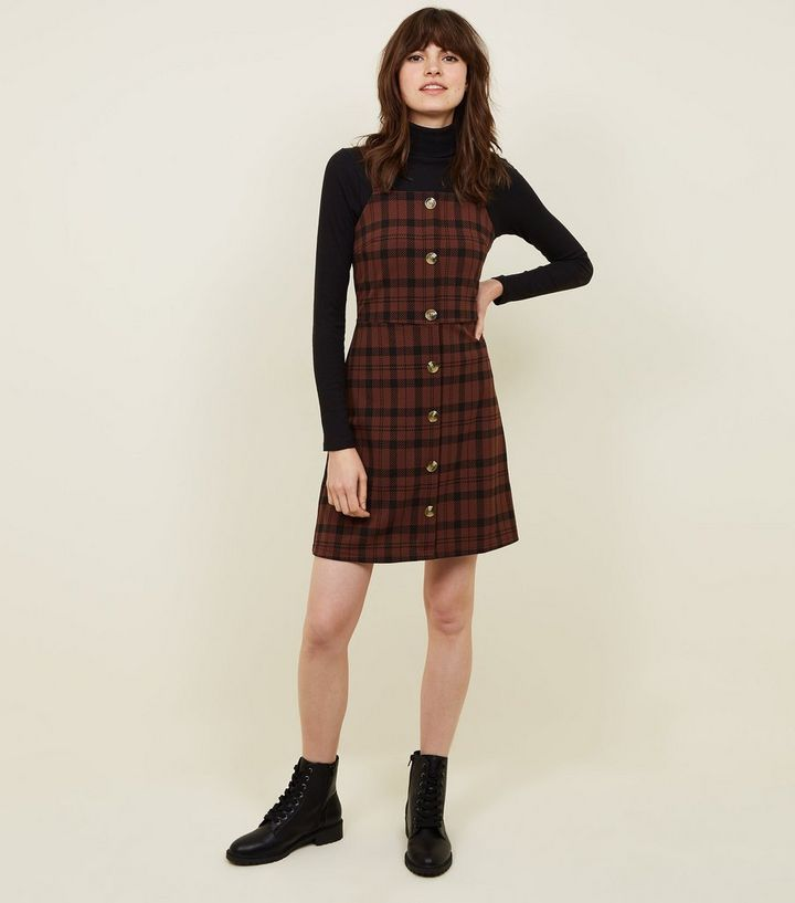 dd453bb343 Brown Check Button Front Pinafore Dress