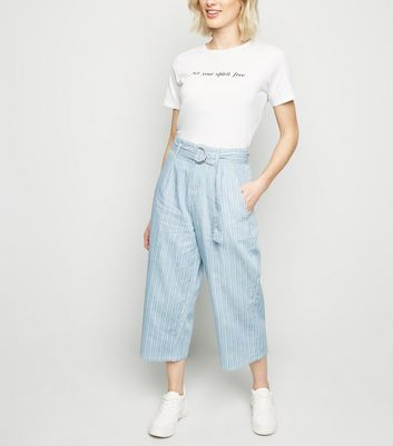 Blue Stripe Lightweight Denim Culottes