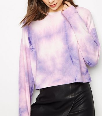 Purple Tie Dye Brushed Fine Knit Top
