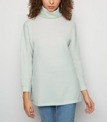 Mint Green Roll Neck Oversized Jumper