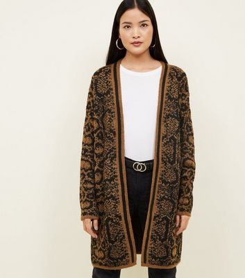 Brown Snake Print Longline Knitted Cardigan
