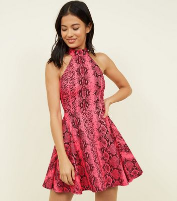 Carpe Diem Pink Neon Snake Print Skater Dress