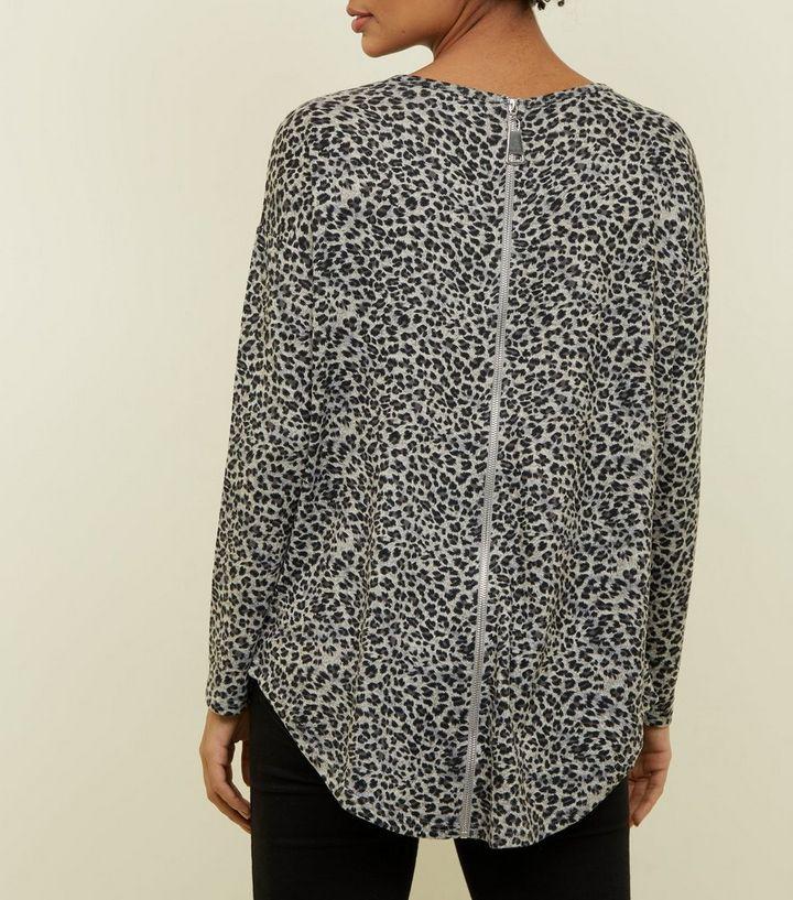 4ff34cfe840d Light Grey Zip Back Leopard Print Top