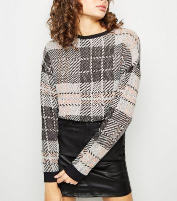 Pink Check Knitted Jumper