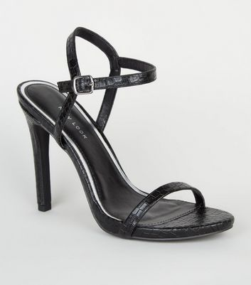 Black Faux Croc 2 Part Stiletto Sandals