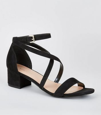 Black Suedete Cross Over Straps Block Heel Sandals