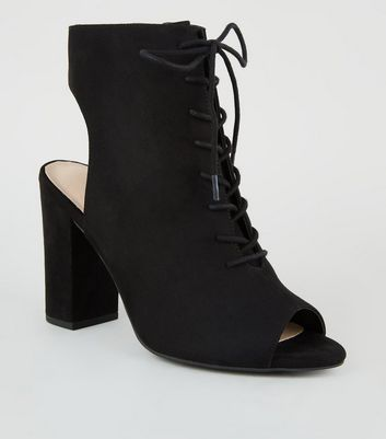 Black Comfort Flex Peep Toe Lace-Up Heels