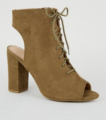 Khaki Comfort Flex Peep Toe Lace-Up Heels