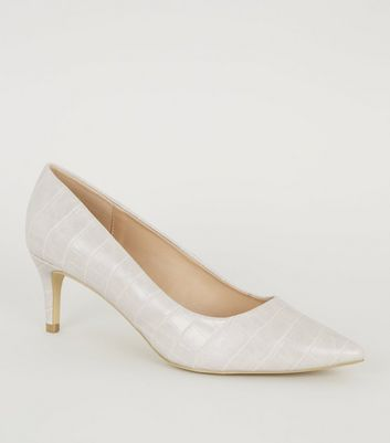 Grey Faux Croc Kitten Heel Courts