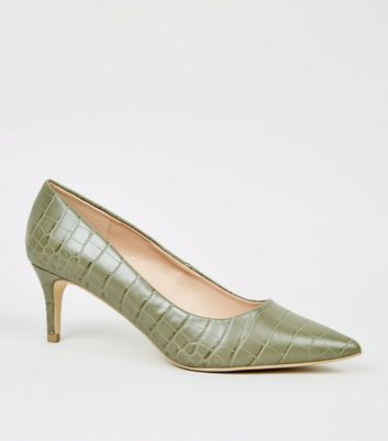 Khaki Faux Croc Leather-Look Stiletto Courts