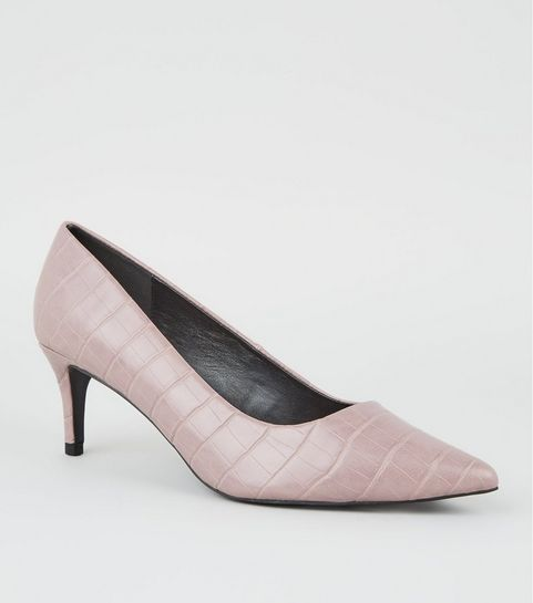 ... Lilac Faux Croc Kitten Heel Courts ... ce38bac7be538