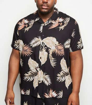 Plus Size Black Floral Short Sleeve Shirt