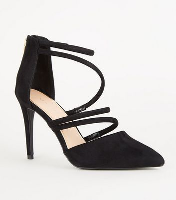 Black Suedette Tube Strap Pointed Courts