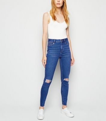 Blue High Rise Ripped Super Skinny Hallie Jeans